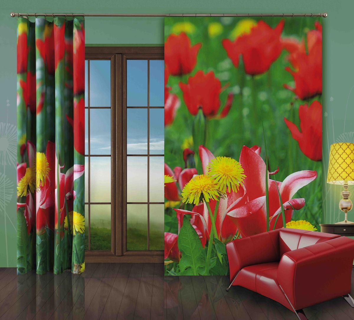 Комплект гардин-панно Wisan Tulipany, на ленте, цвет: зеленый, красный, высота 250 см