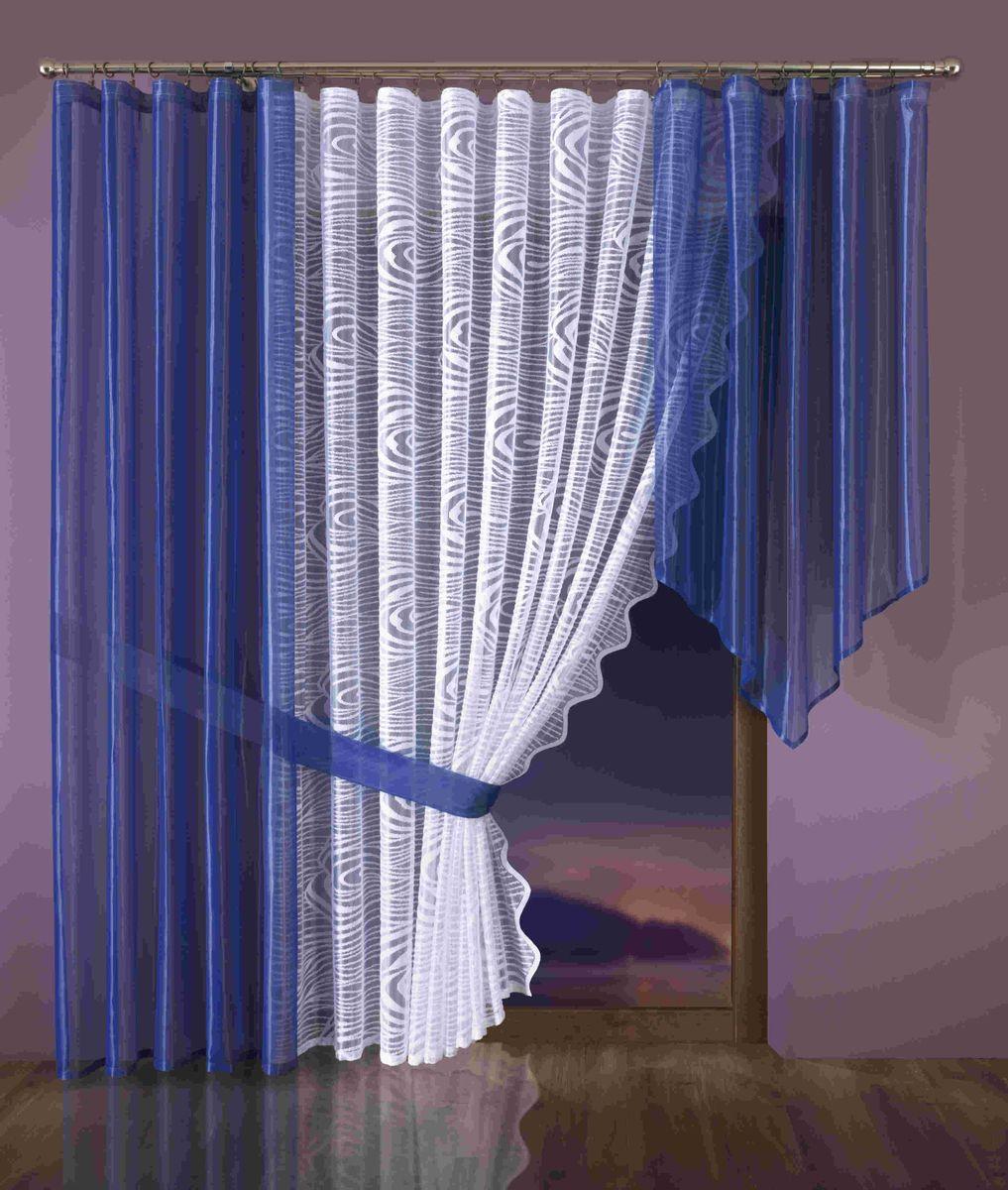 Комплект штор Wisan Klaudyna, на ленте, цвет: белый, синий, высота 250 см комплект штор wisan lara на ленте цвет оранжевый белый высота 250 см
