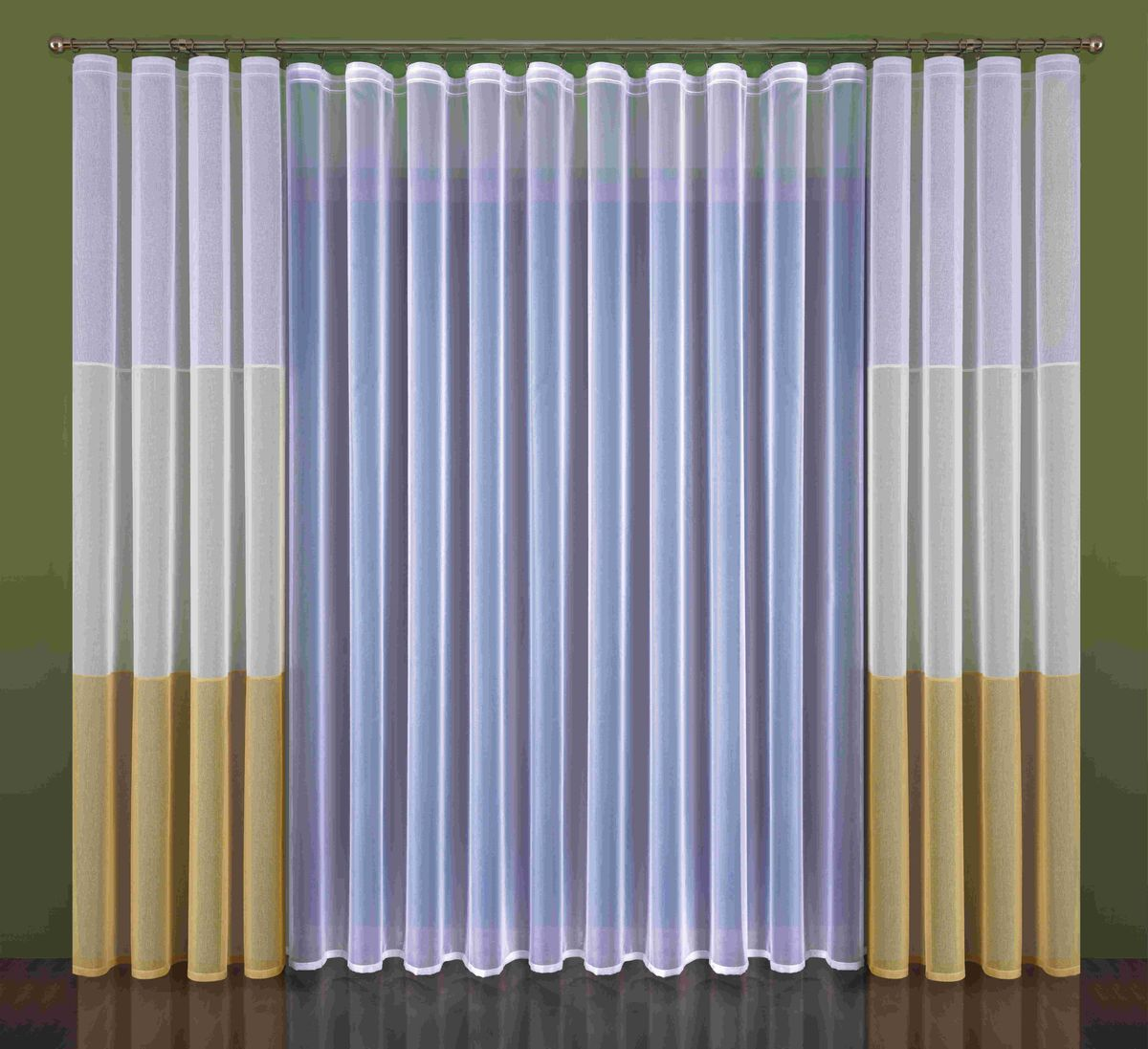 Комплект штор Wisan Kleonia, на ленте, цвет: белый, бежевый, высота 250 см комплект штор wisan lara на ленте цвет оранжевый белый высота 250 см