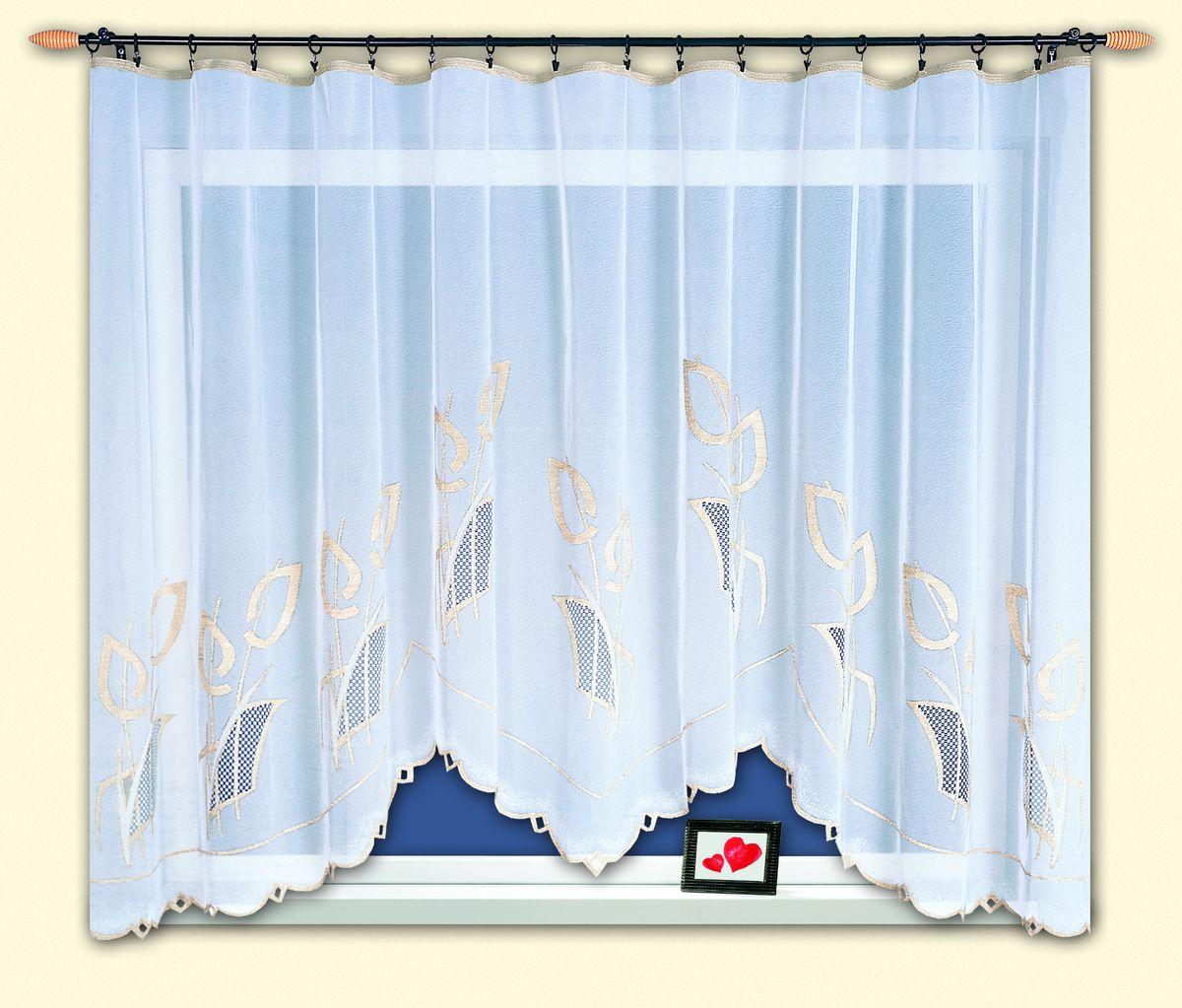 Гардина Haft Magia Wzorow, на ленте, цвет: белый, бежевый, высота 150 см. 33910/15033910/150Гардина Haft изготовлена из полиэстера, легкой, тонкой ткани. Изделие украшено оригинальным узором. Гардина оснащена шторной лентой для красивой сборки.Тонкое плетение и оригинальный дизайн привлекут к себе внимание и органично впишутся в интерьер кухни. Оригинальное оформление гардины внесет разнообразие и подарит заряд положительного настроения.