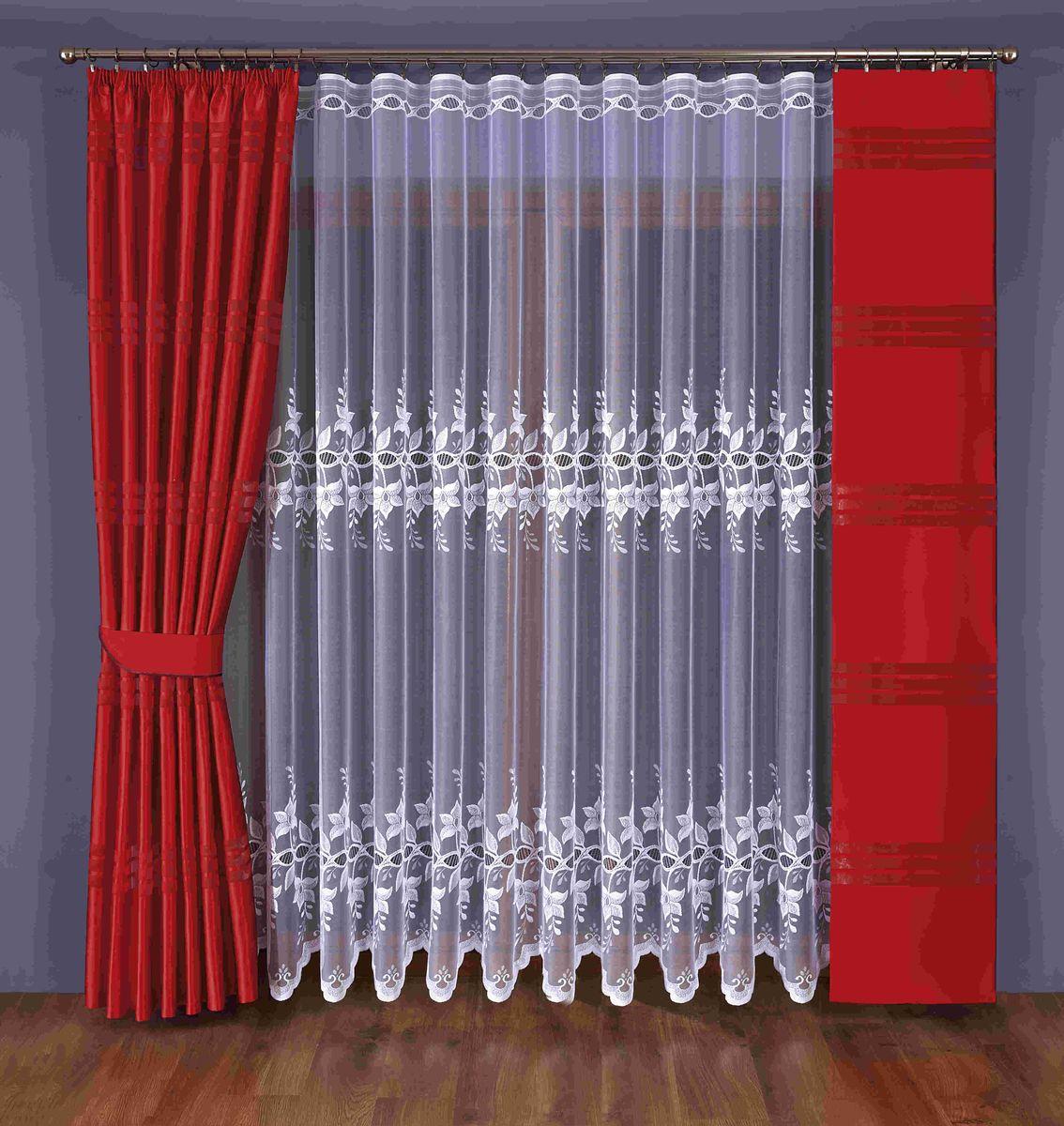 Комплект штор Wisan Eunika, на ленте, цвет: белый, красный, высота 245 см351 WКомплект штор Wisan Eunika выполненный из полиэстера, великолепно украсит любое окно. В комплект входят 2 плотные шторы, тюль и 1 подхват.Оригинальный и яркий дизайн придает комплекту особый стиль и шарм. Качественный материал и тонкое плетение, нежная цветовая гамма и роскошное исполнение - все это делает шторы Wisan Eunika замечательным дополнением интерьера помещения.Комплект оснащен шторной лентой для красивой сборки. В комплект входит: Тюль - 1 шт. Размер (ШхВ): 400 см х 245 см.Штора - 1 шт. Размер (ШхВ): 170 см х 245 см.Штора - 1 шт. Размер (ШхВ): 40 см х 245 см.Подхват - 1 шт. Фирма Wisan на польском рынке существует уже более пятидесяти лет и является одной из лучших польских фабрик по производству штор и тканей. Ассортимент фирмы представлен готовыми комплектами штор для гостиной, детской, кухни, а также текстилем для кухни (скатерти, салфетки, дорожки, кухонные занавески). Модельный ряд отличает оригинальный дизайн, высокое качество. Ассортимент продукции постоянно пополняется.