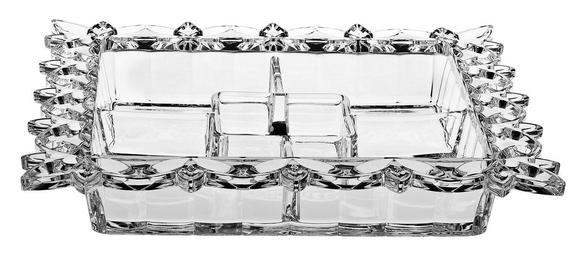 Кабарет Crystal Bohemia, 35,5 см х 35,5 см990/90302/0/27910/355-109Кабарет Crystal Bohemia изготовлен из хрусталя и имеет квадратную форму с пятью секциями. Края изделия декорированы красивым цветочным рельефом. Кабарет используется для подачи на стол нескольких видов соусов. Кроме того, это идеальная посуда для подачи разных сортов икры. Кабарет сочетает в себе изысканный дизайн с максимальной функциональностью. Он прекрасно впишется в интерьер вашей кухни и станет достойным дополнением к кухонному инвентарю. Размер: 35,5 см х 35,5 см х 6 см.