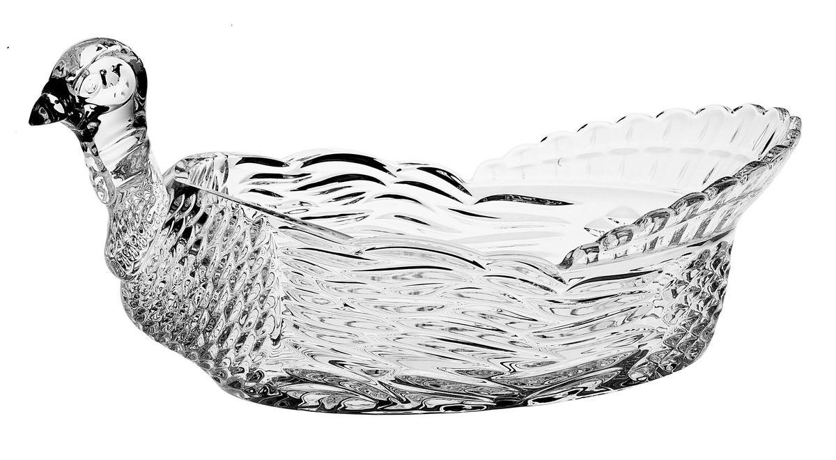 """Доза-салатник Crystal Bohemia """"Тетерев"""" изготовлена из хрусталя и выполнена в форме   тетерева, декорирована красивым рельефом. Данная доза-салатник сочетает в себе   изысканный дизайн с максимальной функциональностью. Она прекрасно впишется в   интерьер вашей кухни и станет достойным дополнением к кухонному инвентарю.  Доза-салатник не только украсит ваш кухонный стол и подчеркнет прекрасный вкус   хозяйки, но и станет отличным подарком.  Размер дозы-салатника: 31 см х 19 см х 15,5 см. Размер рабочей поверхности (емкости): 21 см х 14 см х 9 см. Высота дозы-салатника: 15,5 см."""