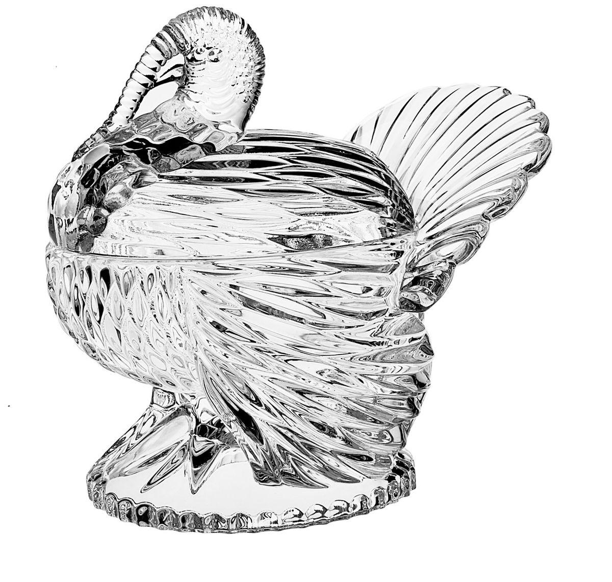 Доза Crystal Bohemia Индюк, 17 см х 15 см х 15,5 см990/58731/1/69731/180-109Доза Crystal Bohemia Индюк изготовлена из высококачественного хрусталя. Доза выполнена в форме индюка со съемной крышкой и сочетает в себе изысканный дизайн с максимальной функциональностью. Ее можно использовать как блюдо для праздничной сервировки стола, так и шкатулку для хранения украшений. Она прекрасно впишется в интерьер вашего дома и станет достойным дополнением к кухонному инвентарю.Доза подчеркнет прекрасный вкус хозяйки и станет отличным подарком. Размер дозы: 17 см х 15 см х 15,5 см.Размер емкости: 11 см х 8,5 см х 5,5 см.
