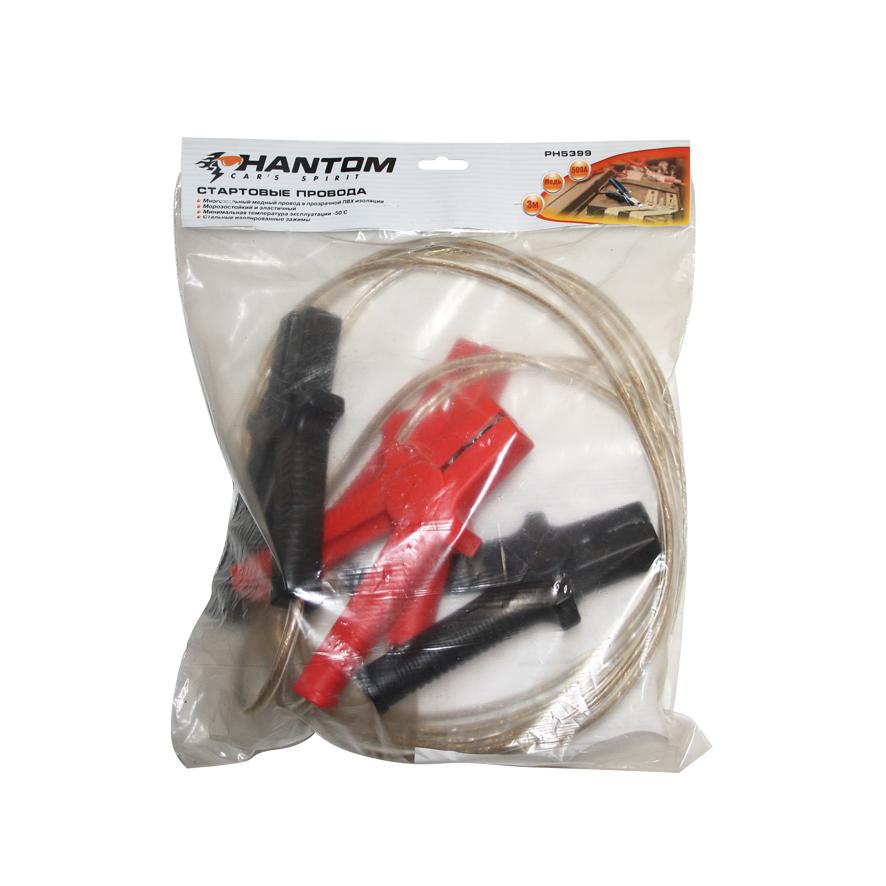Провода стартовые Phantom, 500 А, 3 м5399Многожильный медный провод в прозрачной ПВХ изоляции. Морозостойкий и эластичный. Минимальная температура эксплуатации -50°С. Стальные изолированные зажимы. Стартовые провода применяются для запуска двигателей легковых и грузовых автомобилей при низкой температуре воздуха. Подсоединяются к одноименным клеммам аккумулятора. Материал: медь, ПВХ, оцинкованная сталь, полипропилен. Длина: 3 м. Сила тока: 500 А.