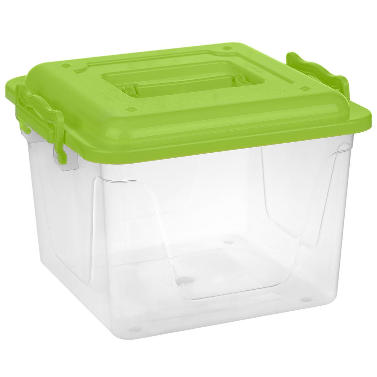 Контейнер Альтернатива, цвет: зеленый, 8,5 лМ1032Контейнер Альтернатива выполнен из прочного пластика. Он предназначен для хранения различных бытовых вещей и продуктов.Контейнер оснащен по бокам ручками, которые плотно закрывают крышку контейнера. Также на крышке имеется ручка для удобной переноски. Контейнер поможет хранить все в одном месте, он защитит вещи от пыли, грязи и влаги.