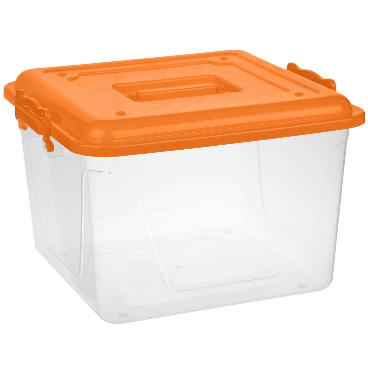 Контейнер Альтернатива, цвет: оранжевый, прозрачный, 15 лМ1023Контейнер Альтернатива выполнен из прочного цветного пластика ипредназначен для хранения различных бытовых вещей и продуктов.Контейнер оснащен по бокам ручками, которые плотно закрывают крышку контейнера. Также на крышке имеется ручка для удобной переноски. Контейнер поможет хранить все в одном месте и защитить вещи от пыли, грязи и влаги.