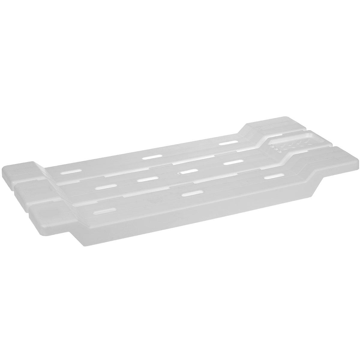 Сиденье-полка на ванну Альтернатива, цвет: белый, 31 x 6 x 68 смМ1552Сиденье-полка на ванну Альтернатива выполнено из пластика и подвешивается на борты ванной. Модель может использоваться как для сиденья при гигиенических процедурах, так и в качестве подставки.Плоские поверхности ребер сиденья препятствуют скольжению поставленных на них предметов. Не царапает ванну, так как в конструкции отсутствуют металлические части. Сиденье-полка подходит как для узкой так и для широкой ванны. Предусмотрено место для мыла.