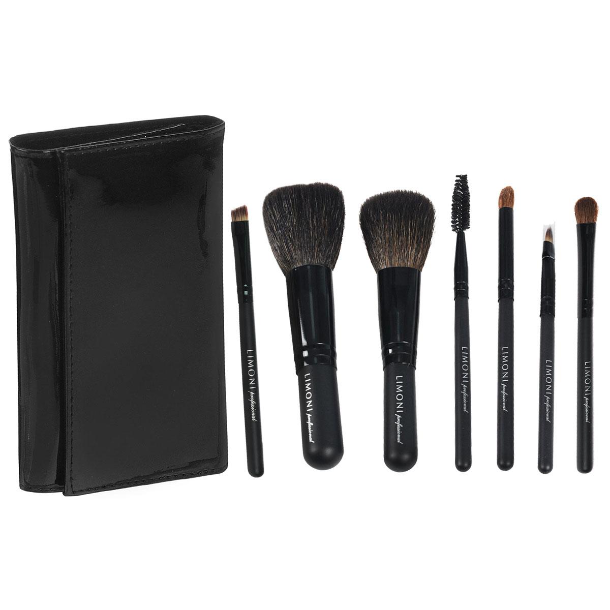 Набор кистей Limoni Travel Kit, дорожный, 7 предметов набор кистей для макияжа дешево в интернет магазине