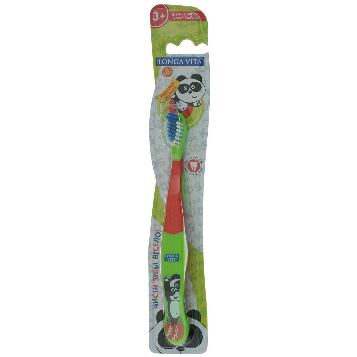 Детская зубная щетка Longa Vita Забавные зверята, цвет: зеленый, красный longa vita детская зубная щетка забавные зверята от 3 х лет арт s 138 longa vita зеленый