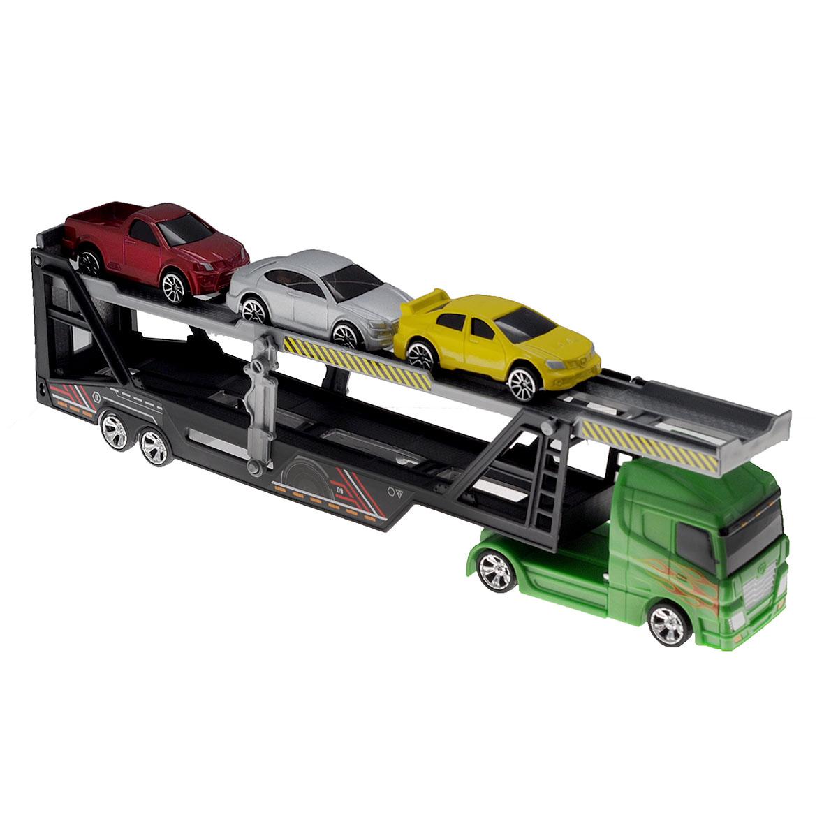 MotorMax Игровой набор Car Transporter цвет зеленый motormax набор машинок