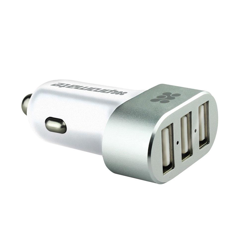 Устройство зарядное Promate Booster, цвет: белый00007822Promate Booster дает вашим гаджетам неоспоримое качество подзарядки в автомобиле. 2 порта USB с силой тока до 2,4 А могут одновременно заряжать 2 планшетных компьютера, а дополнительный USB порт с силой тока до 1,5А поможет зарядить телефон или любой другой девайс, совместимый с USB разъемом. Несмотря на внутреннюю мощность, Booster обеспечивает превосходную защиту от скачков напряжения и замыкания для подключаемых к нему гаджетов. Это достигнуто за счет смарт чипа, интегрированного в схему зарядного устройства. Исполнение в ненагреваемом алюминиевом корпусе придает Promate Booster дополнительную элегантность во внешнем виде. Просто подключите USB разъемы к Booster и испытайте технологии на ваших девайсах!