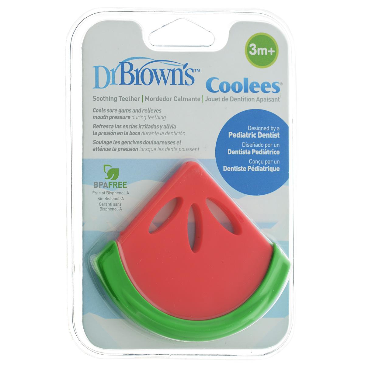 Прорезыватель Dr.Brown's Coolees: Арбуз, охлаждающий, цвет: красный, зеленый прорезыватель dr brown coolees успокаивающий охлаждающий