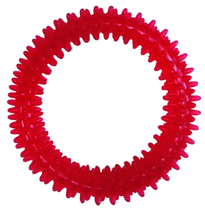 Игрушка для собак Ziver Кольцо с шипами, с пищалкой, цвет: розовый, диаметр 10,5 см игрушка для собак ziver осел длинноухий с пищалкой цвет голубой 18 см