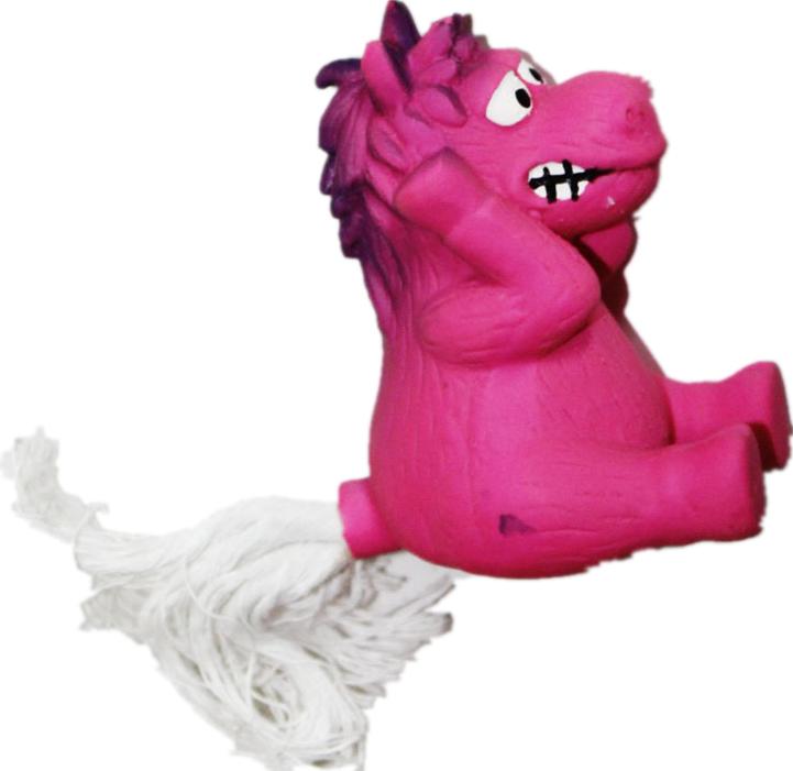 Игрушка для собак Ziver Лошадь с веревочным хвостом, с пищалкой, цвет: розовый, длина 12 см игрушка для собак ziver осел длинноухий с пищалкой цвет голубой 18 см