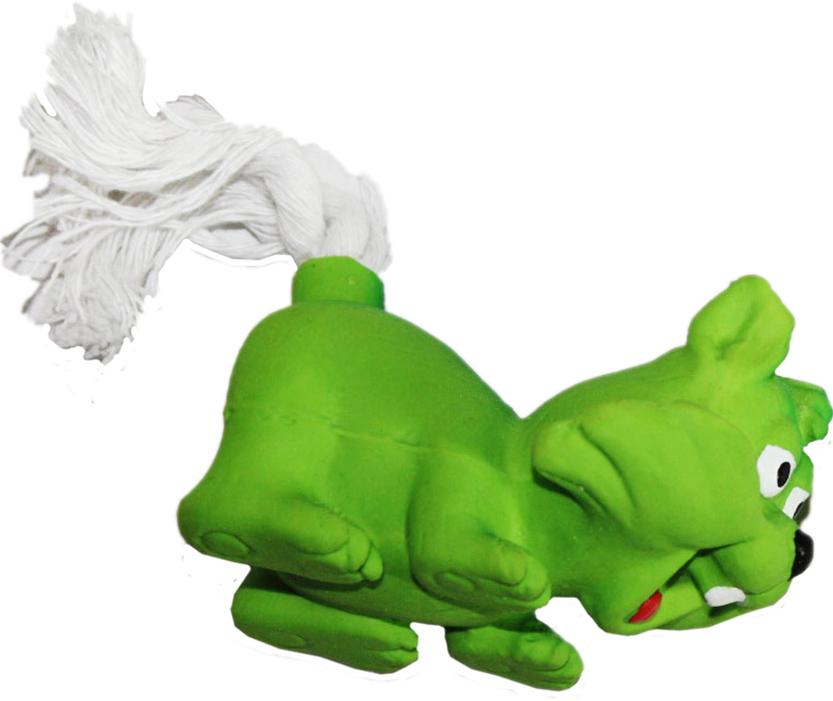 Игрушка для собак Ziver Лиса с веревочным хвостом, с пищалкой, цвет: зеленый, длина 11 см игрушка для собак ziver осел длинноухий с пищалкой цвет голубой 18 см