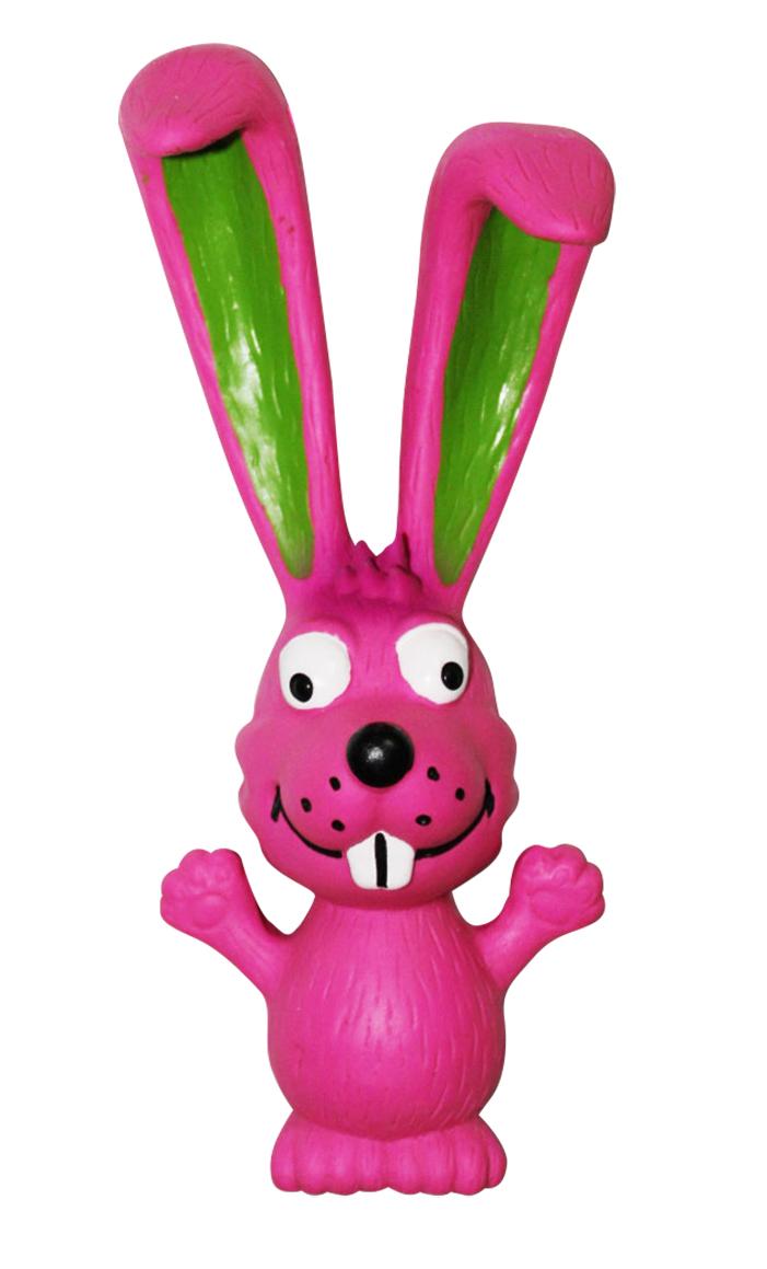 Игрушка для собак Ziver Заяц длинноухий, с пищалкой, цвет: розовый, длина 18 см игрушка для собак ziver осел длинноухий с пищалкой цвет голубой 18 см
