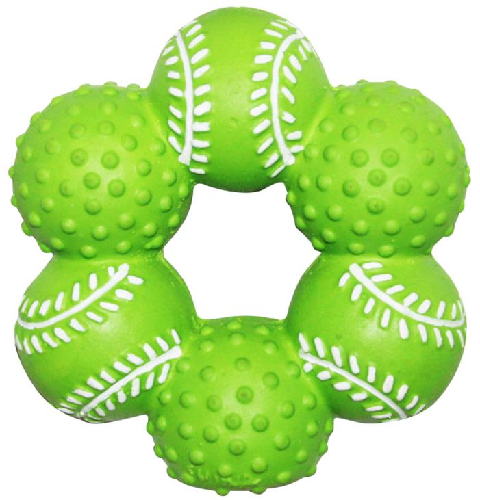 Игрушка для собак Ziver Кольцо из мячей, с пищалкой, цвет: зеленый, диаметр 10 см40.ZV.084Игрушка Ziver Кольцо из мячей изготовлена из высококачественного латекса с использованием только безопасных, не токсичных красителей. Игрушка выполнена в виде кольца из мячей и при надавливании или захвате пастью пищит. Привлечет внимание вашего любимца, позволит весело провести ему время, не навредит здоровью, а также поможет вам сохранить в целости личные вещи и предметы интерьера.Рифленая игольчатая поверхность игрушки прекрасно массирует десна.Размер: 10 см х 10 см х 3,5 см.