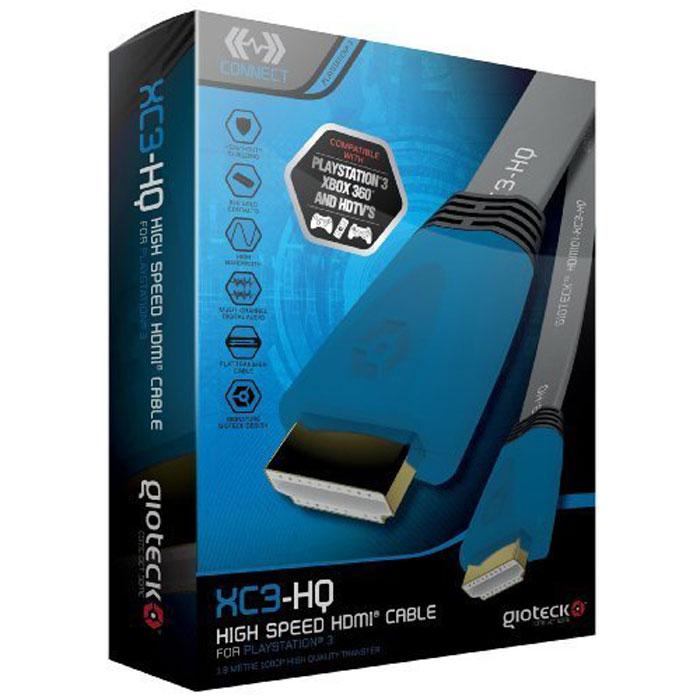 Gioteck XC3-HQ кабель HDMI высокоскоростной плоский, Blue 1.8 м1CSC20000695Gioteck XC-3-HQ - высокоскоростной кабель HDMI с поддержкой сигнала 1080p для PS3. Благодаря высокомукачеству и широкой полосе пропускания этот кабель позволяет повысить четкость текстур и реалистичностьтеней.Надежное экранирование Контакты из 24-каратного золота Многоканальный цифровой звук