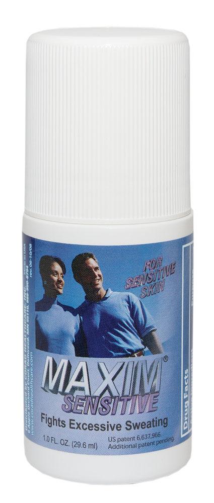 Maxim 10,8% Дезодорант-антиперсперант с шариковым аппликатором для чувствительной кожи, 29,5 мл0027-MSАнтиперспирант Maxim для чувствительной кожи — уникальный роликовый антиперспирант на водной основе. Он не содержит спирта и имеет в своем составе меньшее содержание солей хлорида алюминия. Специально разработан для нежной и чувствительной кожи. Действие: Антиперспирант Maxim 10.8% устраняет повышенное потоотделении, не блокируя работу потовыводящих желез. Эффект сухости заключается в сужении пор кожи. Это достигается взаимодействием хлорида алюминия и кожного белка. Далее идет перераспределение испарений пота в те места, где оно является обычным при нормальной работе организма. Также излишняя влага может выводиться при помощи почек. В результате мы получаем сухим обрабатываемый участок, и одновременно не наблюдается компенсаторного гипергидроза в других местах. Нерастворимость алюминиево-белковых образований и 0% спирта в составе гарантирует полное отсутствие абсорбции алюминия в организме, и делает антиперспирант Maxim очень безопасным в долгосрочном использовании. • Не имеет запаха; • Экономичный флакон, его хватает на 6–12 месяцев; • Антиперспирант Maxim сохранит Вашу одежду в первозданном виде и не заставить думать об испорченном гардеробе.