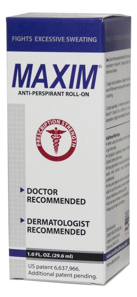 Maxim 15% Дезодорант-антиперсперант с шариковым аппликатором для нормальной кожи, 29,5 мл0027Антиперспирант Maxim для нормальной кожи — уникальный роликовый антиперспирант на водной основе. Он не содержит спирта, а значит совершенно безвреден для Вашей кожи. Подходит для длительного применения. Действие: Антиперспирант Maxim 15% устраняет проблему гипергидроза, не блокируя потовыводящие железы. Сухость достигается сужением пор кожи при взаимодействии хлорида алюминия с кожным белком. В организме при этом идет перераспределение выделений пота на те участки, где это происходит легче для организма. Также вода может выводиться при помощи почек. После обработки мы получаем сухой участок кожи и не страдаем от компенсаторного гипергидроза в других местах. Полная нерастворимость алюминиево-белковых образований и 0% спирта гарантирует отсутствие абсорбции алюминия в организме и делает дезодорант Maxim 15% очень безопасным в долгосрочном использовании. • Не имеет запаха; • Экономичность флакона гарантирует вам его использование в течение 6–12 месяцев; • Антиперспирант Maxim защитит Ваш гардероб от разрушающего воздействия пота.