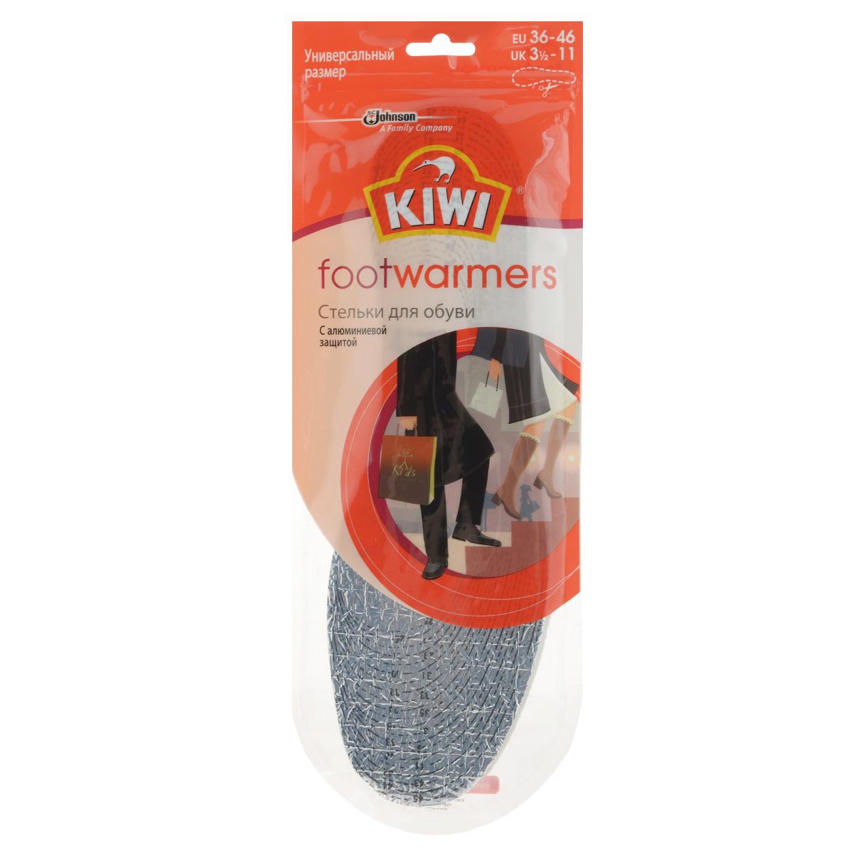Стельки зимние Kiwi FootWarmers, с алюминиевой прослойкой632103Стельки зимние Kiwi FootWarmers помогают сохранить ваши ноги в тепле в холодную погоду. Воздушная прослойка, расположенная между двумя алюминиевыми слоями, обеспечивает эффективную защиту от холода. Подходит для всех типов обуви.Размер универсальный: 36-46.Состав: верхний слой: 60% акрил, 30% вискоза, 10% шерсть; основа: полиэтиленовая пена, алюминиевая фольга.