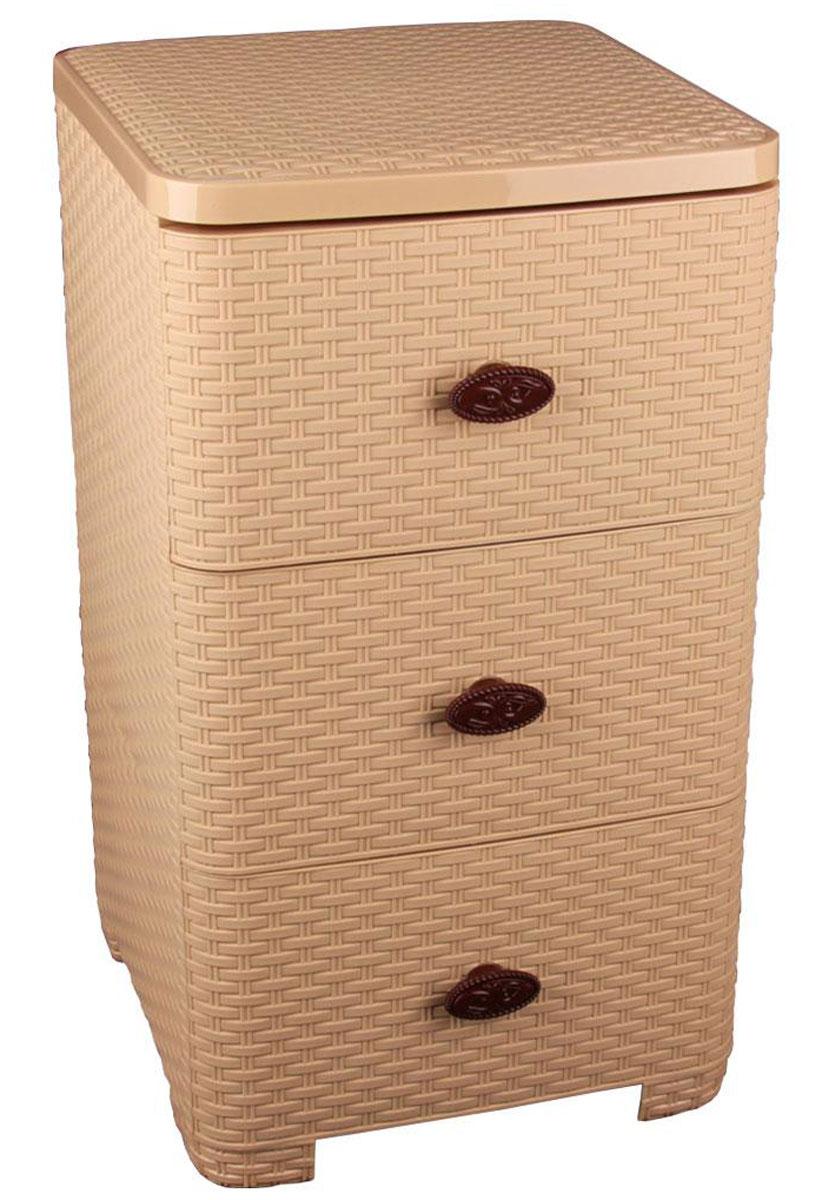Комод Альтернатива Плетенка, цвет: бежевый, 37,5 х 36 х 63 смМ2431Комод Альтернатива Плетенка изготовлен из высококачественного пластика. Предназначен для хранения различных вещей, игрушек, канцтоваров и состоит из трех вместительных секций. Комод оснащен колесиками для удобства транспортировки.Такой необычный комод надежно защитит вещи от загрязнений, пыли и моли, а также позволит вам хранить их компактно и с удобством. Размер ящиков: 35 см х 38 см х 19 см.