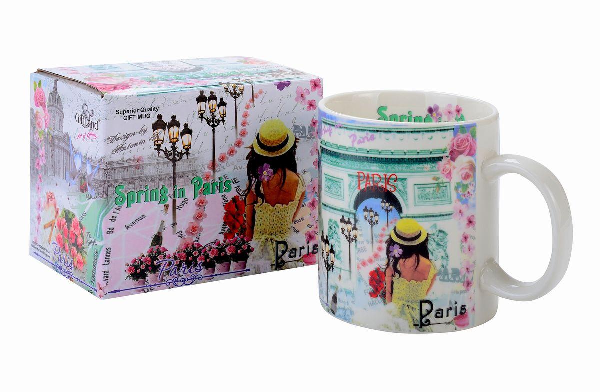 Кружка GiftLand Весна в Париже, 700 млG013- ВеснаКружка GiftLand Весна в Париже изготовлена из костяного фарфора и оформлена красочным изображением достопримечательностей Парижа. Оригинальная кружка порадует вас ярким дизайном и станет неизменным атрибутом чаепития. Внушительный объем кружки, позволит вдоволь насладиться любимым напитком. Прекрасно подойдет в качестве сувенира. Изделие пригодно для использования в посудомоечной машине и микроволновой печи. Диаметр кружки: 10,5 см.Высота: 11,5 см.Объем: 700 мл.