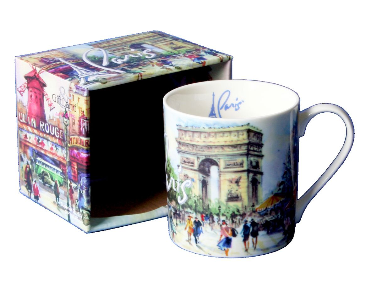 Кружка GiftLand Париж-Париж, 400 млM013-PparКружка GiftLand Париж-Париж изготовлена из костяного фарфора и оформлена красочным изображением достопримечательностей Парижа. Кружка упакована в красивую подарочную коробку. Оригинальная кружка порадует вас ярким дизайном и станет неизменным атрибутом чаепития. Прекрасно подойдет в качестве сувенира.Изделие пригодно для использования в посудомоечной машине и микроволновой печи. Диаметр кружки: 8,5 см.Высота: 9 см.Объем: 400 мл.