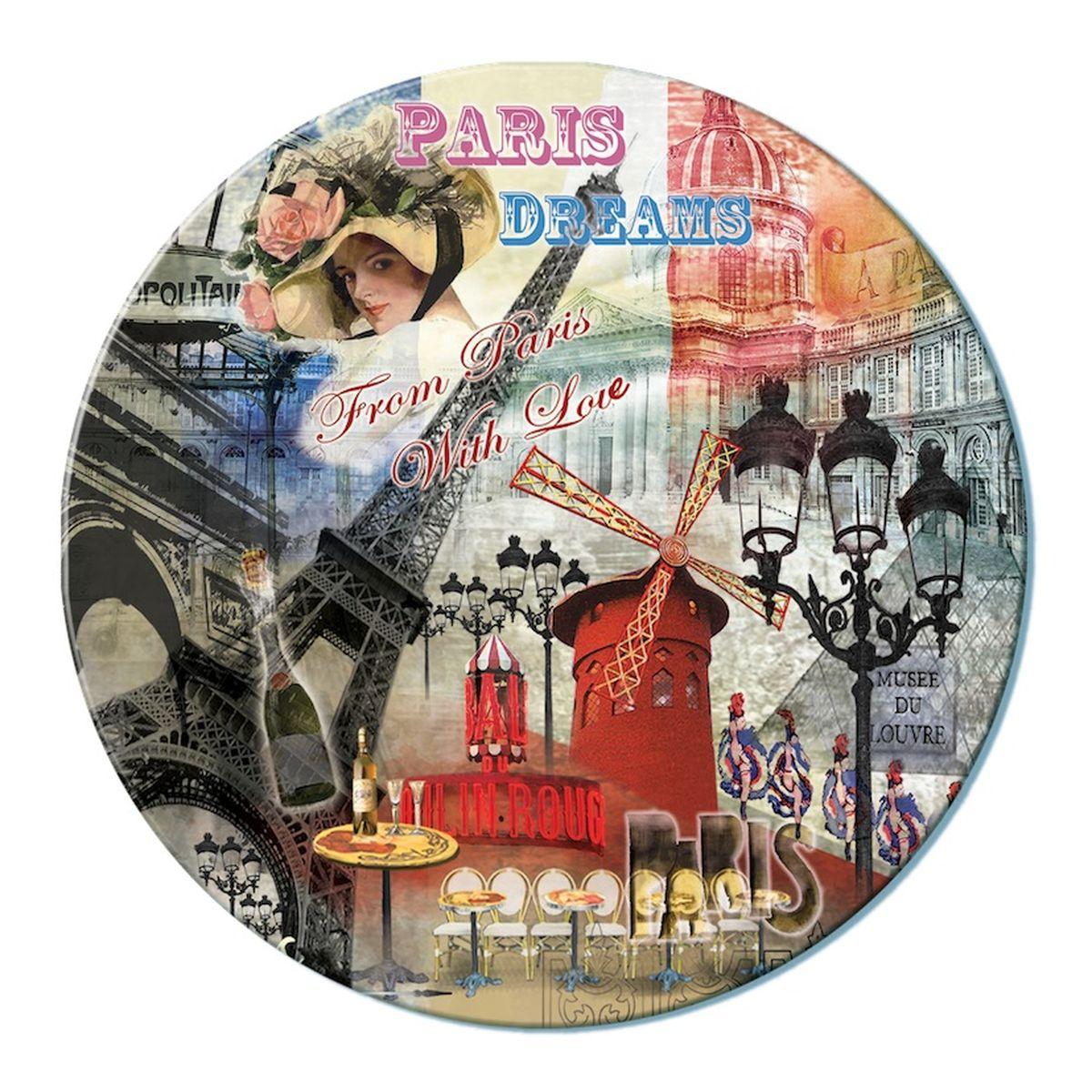 Доска разделочная GiftnHome Парижские фантазии, стеклянная, диаметр 19 смRCB-PDREAMSРазделочная доска GiftnHome Парижские фантазии выполнена из жароустойчивого стекла. Изделие, украшенное красочным изображением достопримечательностей Парижа, идеально впишется в интерьер современной кухни. Специальное покрытие вкладыша обеспечивает стойкость к влаге и высоким температурам. Изделие легко чистить от пятен и жира. Также доску можно применять как подставку под горячее.Разделочная доска GiftnHome Парижские фантазии украсит ваш стол и сбережет его от воздействия высоких температур ваших кулинарных шедевров. Можно мыть в посудомоечной машине.Диаметр доски: 19 см. Толщина доски: 0,4 см.