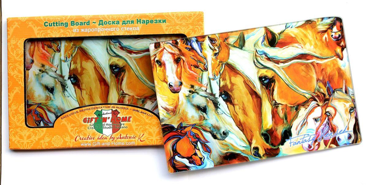 Доска разделочная GiftnHome Фантазии о лошадях, стеклянная, 30 см х 20 смCB-01-FhorseРазделочная доска GiftnHome Фантазии о лошадях выполнена из жароустойчивого стекла. Изделие, украшенное красочным изображением лошадей, идеально впишется в интерьер современной кухни. Специальное покрытие вкладыша обеспечивает стойкость к влаге и высоким температурам. Изделие легко чистить от пятен и жира. Также доску можно применять как подставку под горячее. Доска оснащена резиновыми ножками, предотвращающими скольжение по поверхности стола.Разделочная доска GiftnHome Фантазии о лошадях украсит ваш стол и сбережет его от воздействия высоких температур ваших кулинарных шедевров. Можно мыть в посудомоечной машине.Размер доски: 30 см х 20 см х 0,4 см.