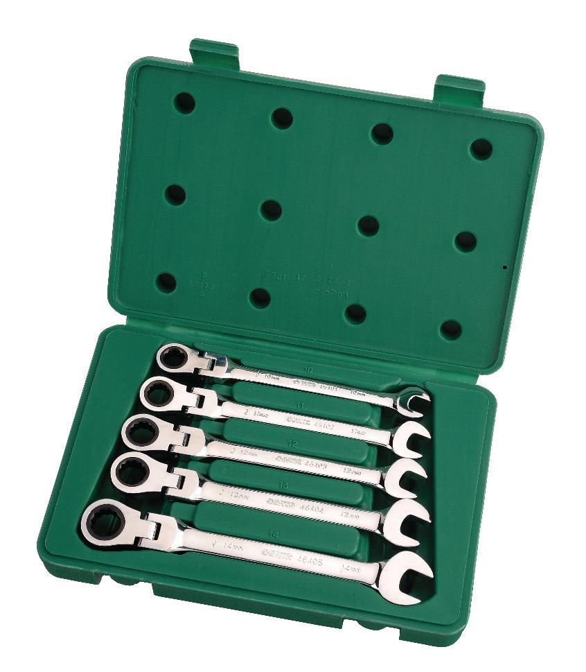 Набор ключей SATA 5пр. 0908209082Метрические комбинированные ключи Sata с реверсивным трещоточным карданным механизмом предназначены для монтажа/демонтажа резьбовых соединений. Инструменты выполнены из высококачественной хромованадиевой стали. В комплекте пластиковый кейс для переноски и хранения.В состав набора входят ключи размером: 10 мм, 11 мм, 12 мм, 13 мм, 14 мм.