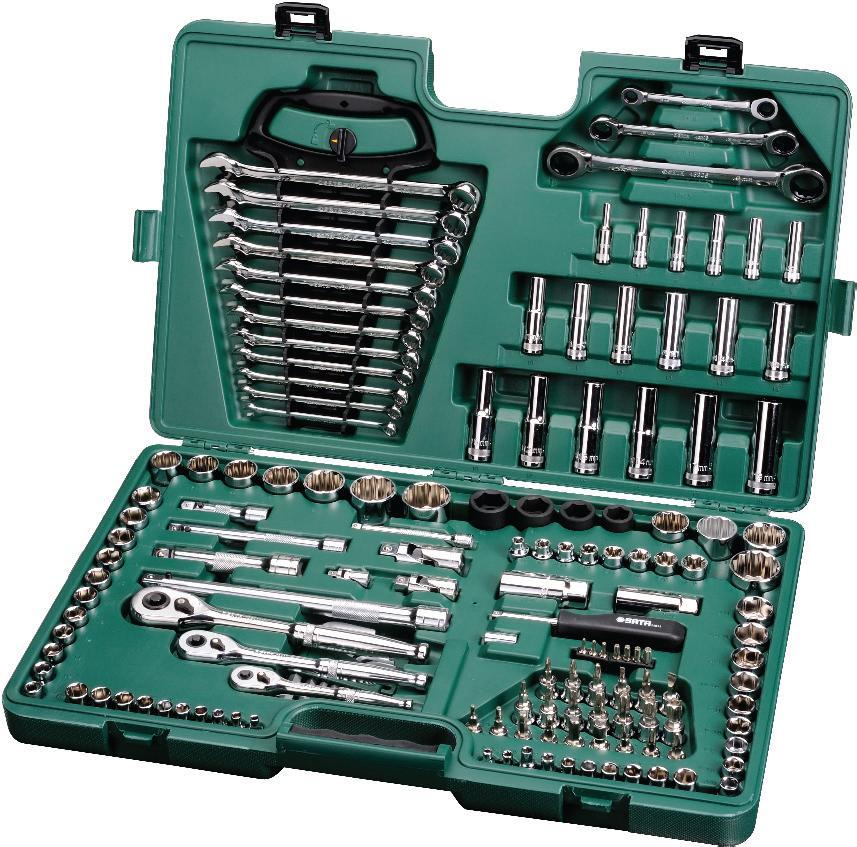 Набор инструментов SATA 150пр. 0951009510Набор инструментов Sata - это необходимый предмет в каждом доме и автомобиле. Набор прекрасно подойдет для проведения ремонтных работ. Инструменты выполнены из хромованадиевой и хром молибденовой стали стали. В комплекте пластиковый кейс для переноски и хранения.Состав набора:Метрические шестигранные торцевые головки под вороток 1/4: 4 мм, 5 мм, 6 мм, 7 мм, 8 мм, 9 мм, 10 мм, 11 мм, 12 мм, 13 мм.Дюймовые шестигранные торцевые головки под вороток 1/4: 5/32, 3/16, 7/32, 1/4, 9/32, 5/16, 11/32, 3/8, 7/16, 1/2.Глубокие метрические шестигранные торцевые головки под вороток 1/4: 4 мм, 5 мм, 6 мм, 7 мм, 8 мм, 9 мм.Метрические шестигранные торцевые головки под вороток 3/8: 9 мм, 10 мм, 11 мм, 12 мм, 13 мм, 14 мм, 15 мм, 16 мм, 17 мм, 18 мм, 19 мм.Дюймовые шестигранные торцевые головки под вороток 3/8: 3/8, 7/16, 1/2, 9/16, 5/8, 11/16, 3/4, 13/16, 7/8.Глубокие метрические шестигранные торцевые головки под вороток 3/8: 10 мм, 11 мм, 12 мм, 13 мм.Торцевые головки для свеч зажигания под вороток 3/8: 16 мм, 21 мм.Наконечники под вороток 3/8: шлицевые 4 мм, 5,5 мм, 6,5 мм; Phillips: PH1, PH2, PH3; Pozidriv: PZ1, PZ2, PZ3; Torx: T20, T30, T40; исключающие несанкционированный доступ: T45, T50, T55, T60; шестигранники 3 мм, 4 мм, 5 мм, 6 мм, 8 мм, 10 мм.Шестиконечные наконечники E-Torx под вороток 3/8: E8, E10, E11, E12, E14, E16, E18, E20.Метрические ударные шестигранные торцевые головки под вороток 1/2: 17 мм, 19 мм, 21 мм, 23 мм.Метрические двенадцатигранные торцевые головки под вороток 1/2: 20 мм, 21 мм, 22 мм, 24 мм, 27 мм, 30 мм, 32 мм.Дюймовые двенадцатигранные торцевые головки: 15/16, 1, 1-1/16, 1-1/4.Глубокие метрические шестигранные торцевые головки под вороток 1/2: 10 мм, 12 мм, 13 мм, 14 мм, 17 м, 19 мм.Быстросъемные храповые рукоятки 1/4, 3/8 и 1/2.Переходник для сменных наконечников под вороток 1/4.Рукоятка отверточного типа с воротком 1/4.Отклоняемый удлинитель с воротком 1/4 длиной 10 см.Удлинители с фиксаторами с воротком 3/8