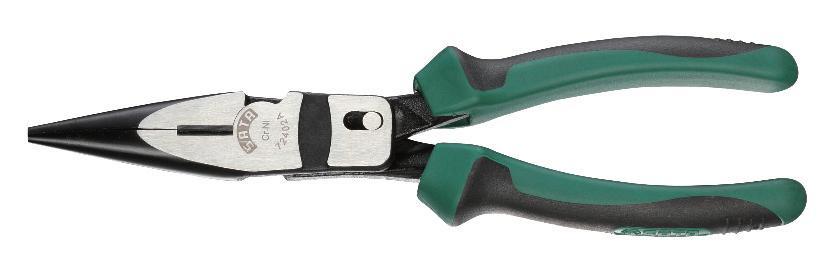 Длинногубцы SATA 21 см72402AДлинногубцы Sata предназначены для захвата, зажима и удержания мелких деталей. Изготовлены из высококачественной хром-никелевой стали. Это увеличивает эксплуатационный период на 30% по сравнению с подобным изделием из хромованадиевой стали. Двухкомпонентные рукоятки обеспечивают более комфортную эксплуатацию, не допускают скольжения и защищены от вредного воздействия масла.
