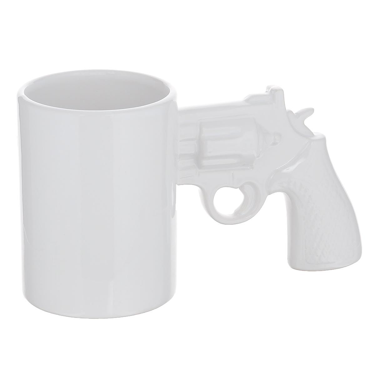 Кружка Револьвер, цвет: белый, 400 мл в москве травматический револьвер таурус