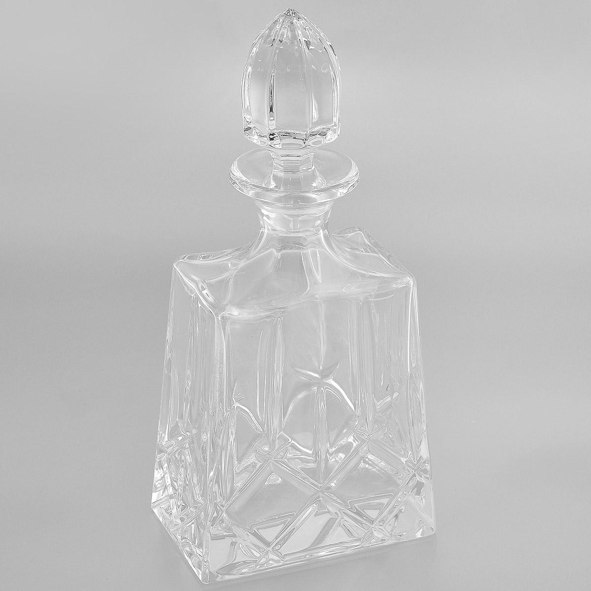 Графин Crystal Bohemia, 900 мл920/46100/1/52820/100-109Графин Crystal Bohemia выполнен из прочного высококачественного хрусталя и декорирован рельефом. Он излучает приятный блеск и издает мелодичный звон. Графин предназначен для хранения и красивой подачи виски и бренди. Он сочетает в себе изысканный дизайн с максимальной функциональностью и прекрасно впишется в интерьер вашей кухни. Графин не только украсит ваш кухонный стол и подчеркнет прекрасный вкус хозяйки, но и станет отличным подарком.Высота (без пробки): 21 см.Размер основания: 13,5 см х 9 см.