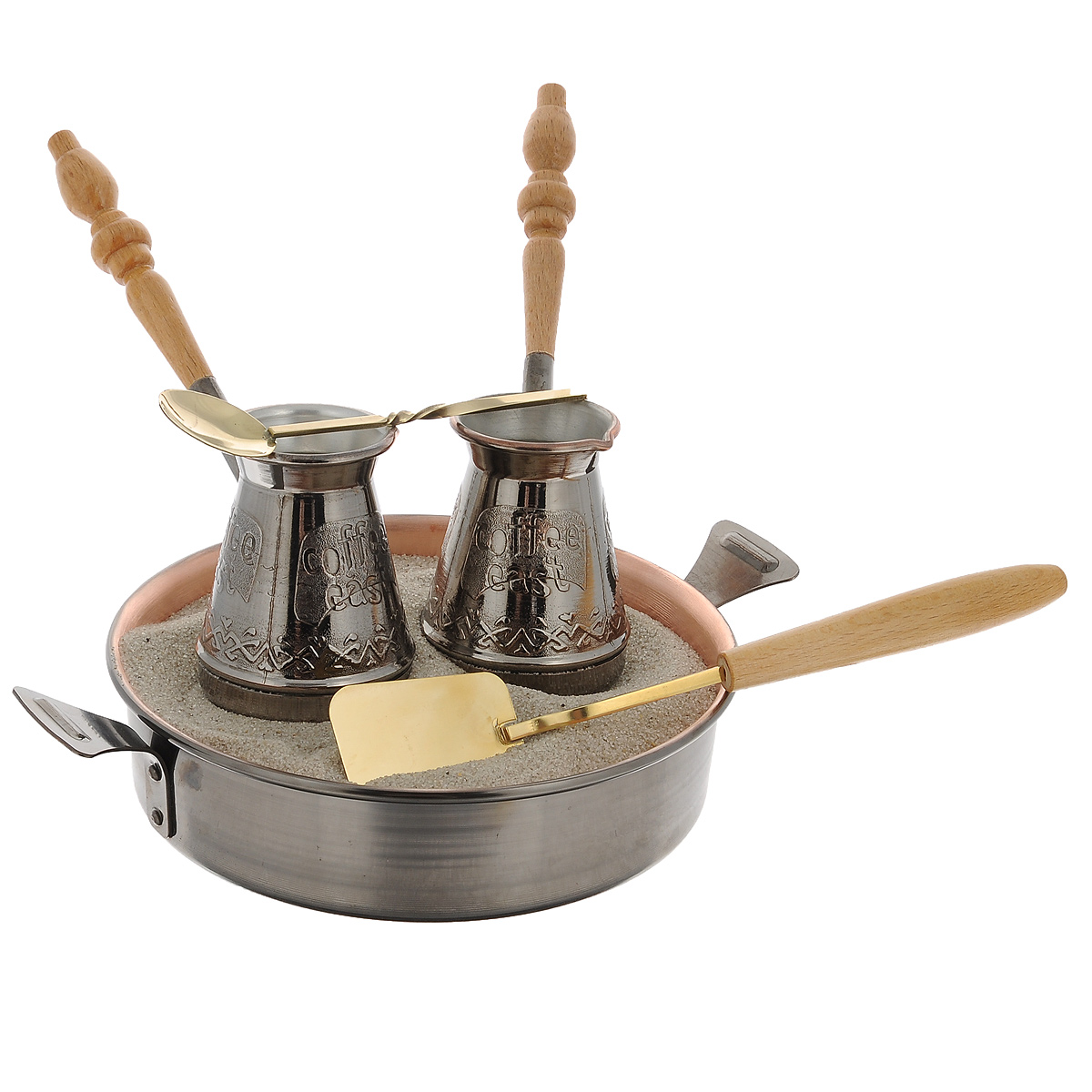 Набор турецкий Станица Тет-а-Тет, 6 предметовКО-26003Приготовление кофе по-восточному на песке - одна из древнейших традиций в истории кофе. Сегодня она вновь обретает все большуюпопулярность во всем мире.Турецкий набор Станица Тет-а-Тет предназначен для приготовления кофе на песке. В набор входит все необходимое для приготовления: двемедные турки, песок, ложка кофейная, лопатка для песка и жаровня.Кофе по-восточному можно приготовить в домашних условиях, как нагазовой, так и на электрической или керамической плите.Сваренный таким образом кофе обладает особым неповторимым вкусом, а также увлекает зрелищностью процесса приготовления. Объем турки: 180 мл.Диаметр турки: 6,5 см.Длина ложки: 19 см.Длина лопатки: 24 см.Диаметр жаровни: 19 см.Длина жаровни (с учетом ручек): 26 см.Высота стенки: 5 см.