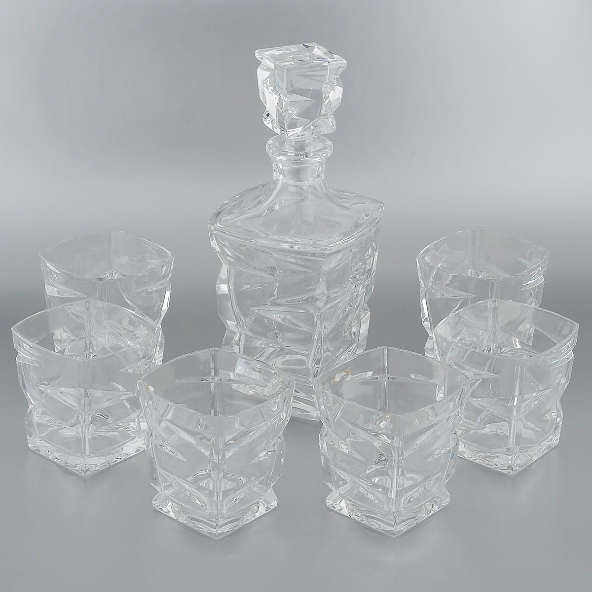 Набор для виски Crystal Bohemia, 7 предметов. 990/99999/9/59418/688-709990/99999/9/59418/688-709Набор для виски Crystal Bohemia состоит из штофа и шести стаканов. Изделия выполнены из прочного высококачественного хрусталя и декорированы рельефом. Они излучают приятный блеск и издают мелодичный звон. Набор предназначен для виски. Набор для виски Crystal Bohemia прекрасно оформит интерьер кабинета или гостиной и станет отличным дополнением бара. Такой набор также станет хорошим подарком к любому случаю. Объем штофа: 750 мл.Высота штофа (без крышки): 20 см.Объем стакана: 300 мл.Размер стакана по верхнему краю: 9 см х 9 см.Высота стенок стакана: 10 см.