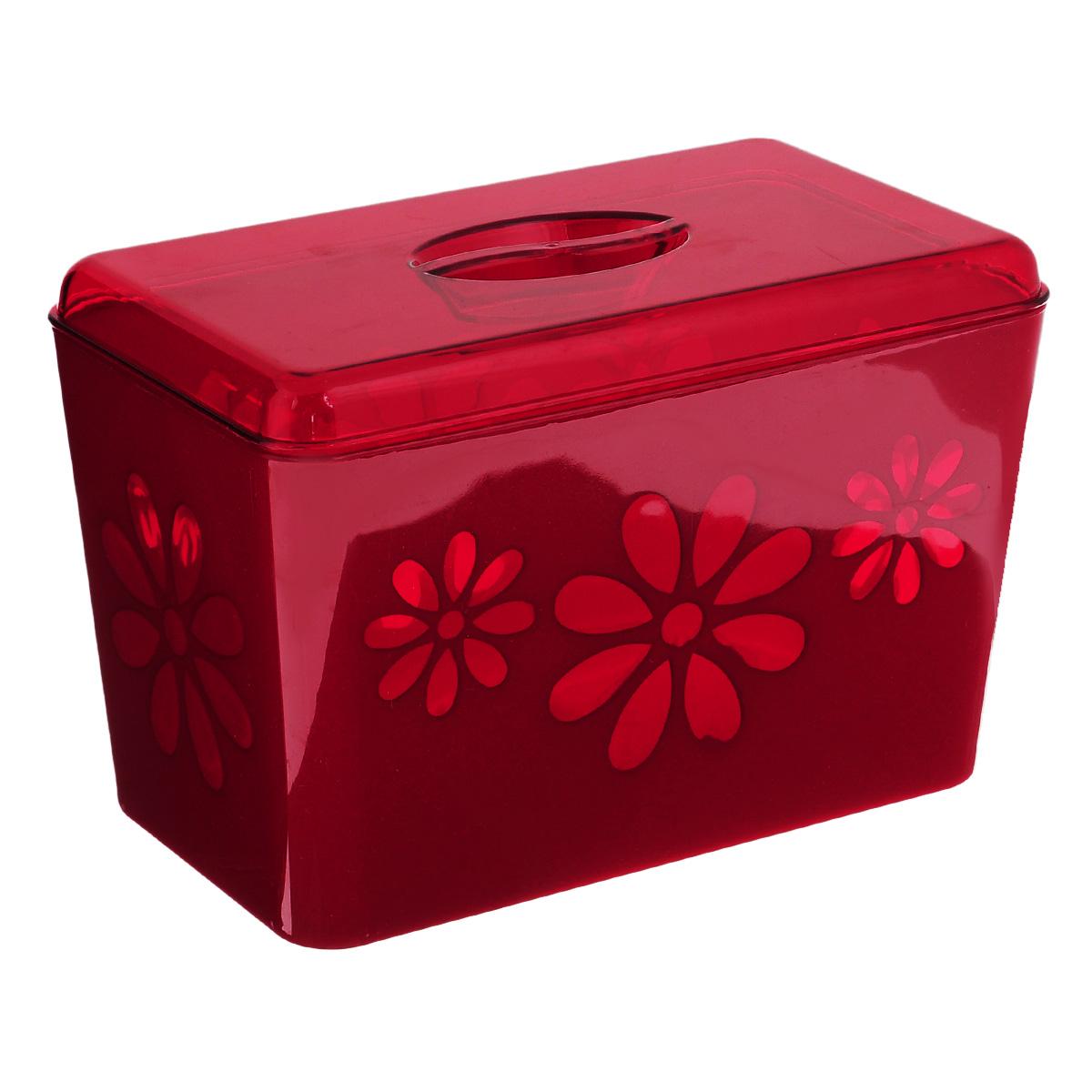 Хлебница Соблазн, цвет: красный, 24 х 14 х 15,5 смM2317Хлебница Соблазн изготовлена из двухцветного пластика и декорирована изображением цветов. Хлебница выполнена в виде чаши с крышкой. Вместительность, функциональность и стильный дизайн позволят хлебнице стать не только незаменимым аксессуаром на кухне, но и предметом украшения интерьера. В ней хлеб всегда останется свежим и вкусным.
