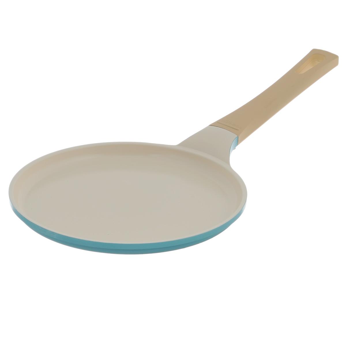 Сковорода для блинов Frybest Round, с керамическим покрытием, цвет: голубой. Диаметр 22 см