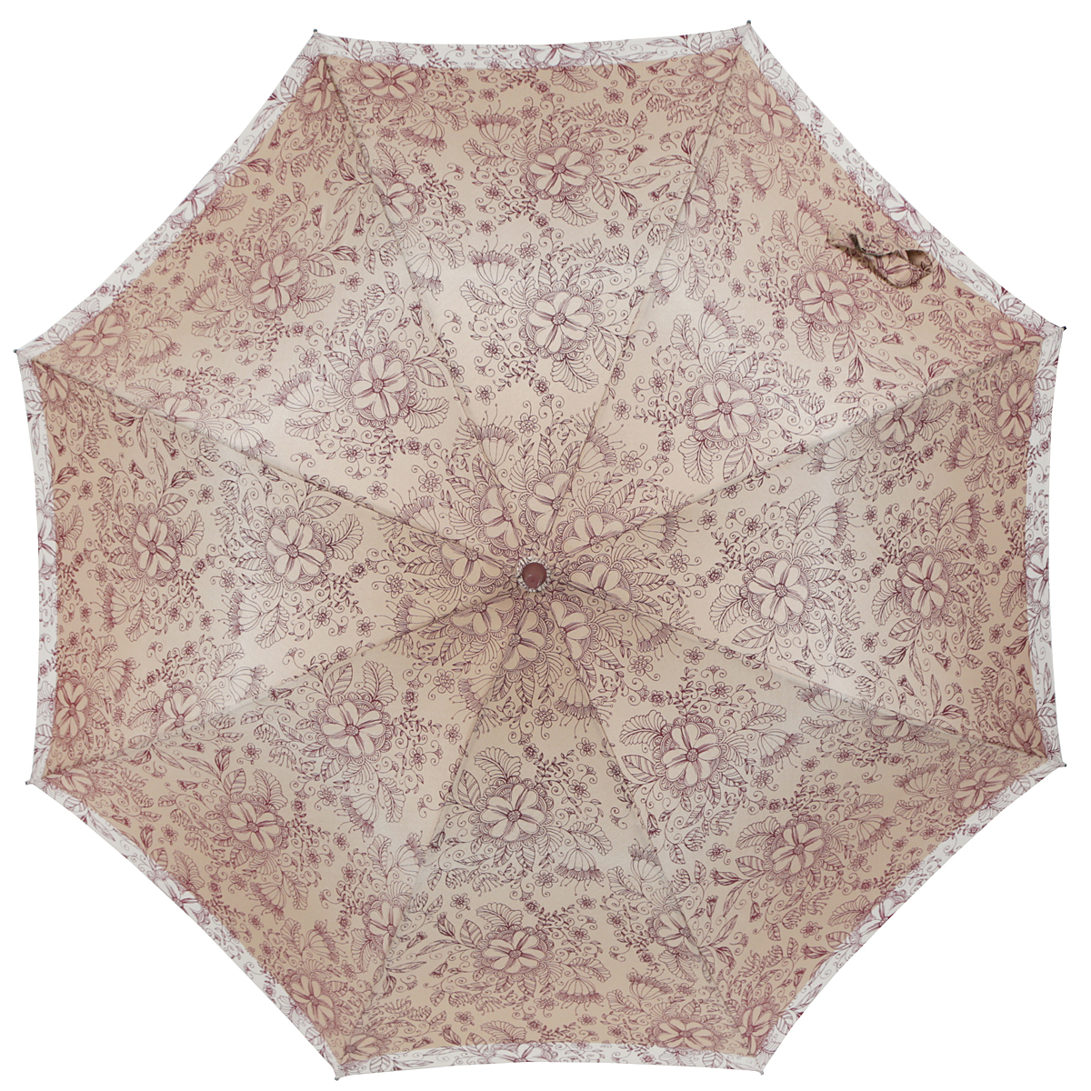 Зонт-трость женский Zest, полуавтомат, цвет: темно-бежевый, бордовый, бежевый. 21629-1097