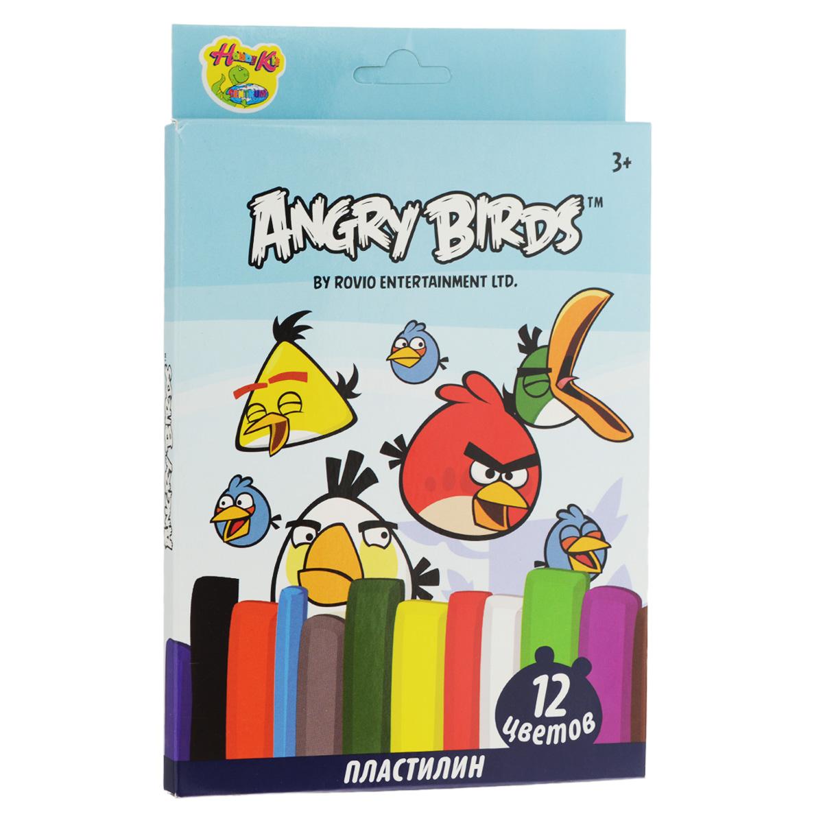 Пластилин Angry Birds, 12 цветов. 8496684966Пластилин Angry Birds - это отличная возможность познакомить ребенка с еще одним из видов изобразительного творчества, в котором создаются объемные образы и целые композиции.В набор входит пластилин 12 ярких цветов (красный, темно-зеленый, черный, оранжевый, светло-зеленый, фиолетовый, белый, желтый, синий, коричневый, голубой, серый), а также пластиковый стек для нарезания пластилина.Цвета пластилина легко смешиваются между собой, и таким образом можно получить новые оттенки. Пластилин имеет яркие, красочные цвета и не липнет к рукам.Техника лепки богата и разнообразна, но при этом доступна даже маленьким детям. Занятия лепкой не только увлекательны, но и полезны для ребенка. Они способствуют развитию творческого и пространственного мышления, восприятия формы, фактуры, цвета и веса, развивают воображение и мелкую моторику.