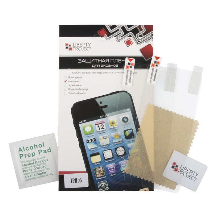 Liberty Project защитная пленка дляiPhone 6/6s, матоваяR0006843Защитная пленка Liberty Project предназначена для защиты поверхности экрана, а также частей корпуса цифрового устройства от царапин, потертостей, отпечатков пальцев и прочих следов механического воздействия.