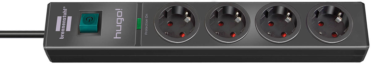 Brennenstuhl Hugo!, Black сетевой фильтр на 4 розетки с заземлением (2 м)1150610314Сетевой фильтр Brennenstuhl Hugo! эффективно защищает подключенные приборы от повреждений, вызываемых перенапряжением, и избавляет тем самым от дорогостоящего ремонта. Удобное расположение розеток, интересное цветовое исполнение, прекрасные функциональные характеристики - все это вы почувствуете, когда приобретете этот сетевой фильтр.Включатель с подсветкойРозетки с защитой от детейРозетки с заземлением, расположены под углом 45°Оптический индикатор функции защиты от перегрузкиВозможность настенного монтажаТип кабеля: H05VV-F3G1,5