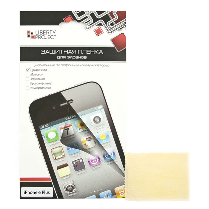 Liberty Project защитная пленка дляiPhone 6 Plus, прозрачнаяR0006526Защитная пленка Liberty Project предназначена для защиты поверхности экрана, а также частей корпуса iPhone 6 Plus от царапин, потертостей, отпечатков пальцев и прочих следов механического воздействия.