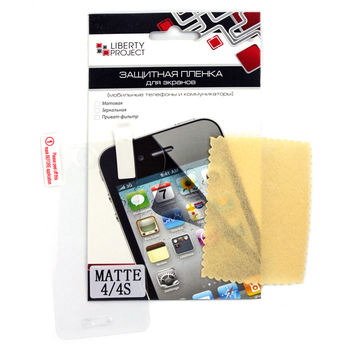 Liberty Project защитная пленка дляiPhone 4/4S, матоваяCD013624Защитная пленка Liberty Project предназначена для защиты поверхности экрана, а также частей корпуса iPhone 4/4S от царапин, потертостей, отпечатков пальцев и прочих следов механического воздействия.