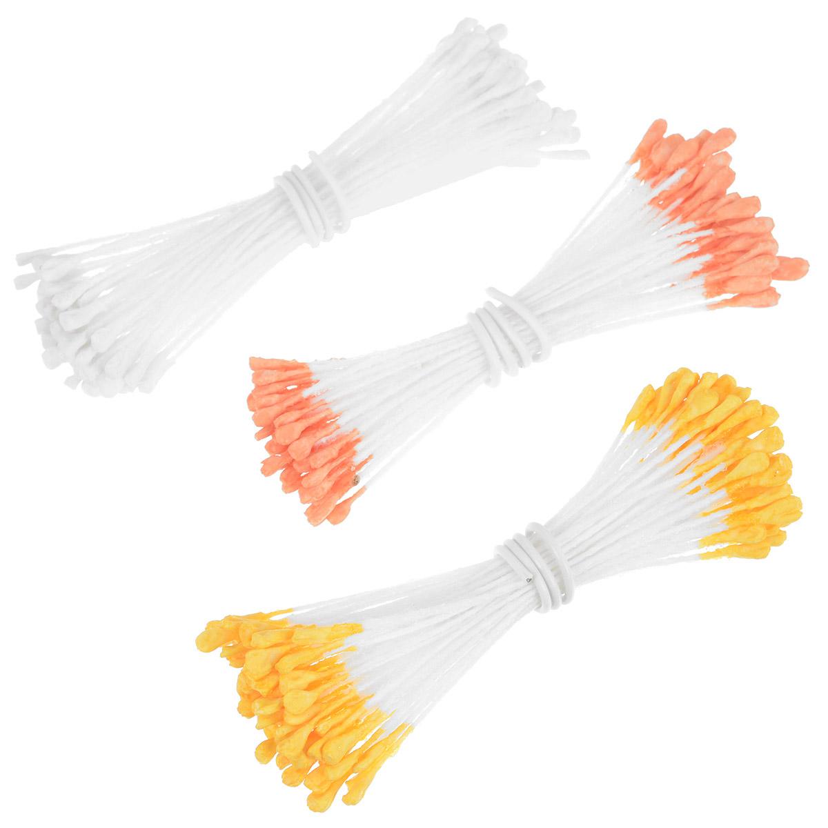 Набор цветных тычинок Wilton, цвет: белый, желтый, оранжевый, 30 штWLT-1005-4452Набор Wilton состоит из 30 специальных тычинок для кондитерского творчества, изготовленных из ткани и металла. Используются при изготовлении съедобных цветов (из глазури-айсинга или мастики). В наборе 3 вида тычинок (по 10 штук): белые, желтые, оранжевые. Изделия предназначены для одноразового использования. Завершите ваши съедобные цветы такими натуральными на вид тычинками! Длина тычинки: 5,4 см.