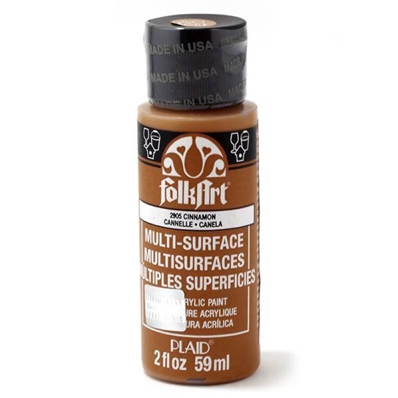 Краска акриловая FolkArt Multi-Surface, цвет: корица (2905), 59 млPLD-02905Акриловая краска FolkArt Multi-Surface - это прочная погодоустойчивая сатиновая краска для различных поверхностей: стекло, керамика, дерево, металл пластик, ткань, холст, бумага, глина. Идеально подходит как для использования в помещении, так и для наружного применения. Изделия, покрытые такой краской, можно мыть в посудомоечной машине в верхнем отсеке. Не токсична, на водной основе. Перед применением краску необходимо хорошо встряхнуть. Краски разных цветов можно смешивать между собой. Перед повторным нанесением краски дать высохнуть в течении 1 часа. До высыхания может быть смыта водой с мылом.