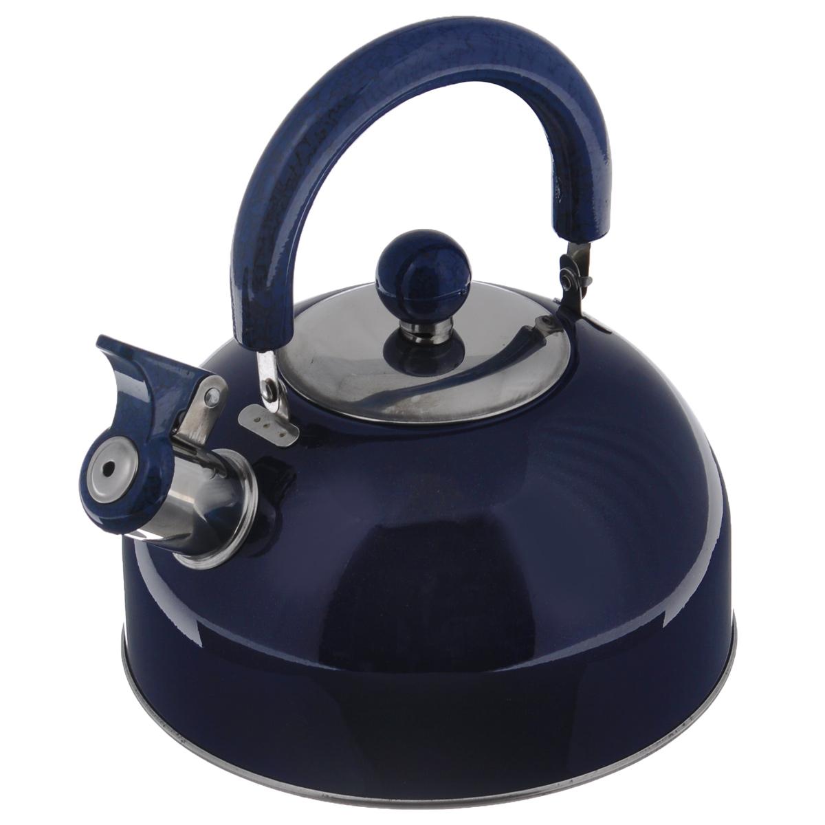 Чайник Mayer & Boch Modern со свистком, цвет: синий, 2 л. МВ-3226МВ-3226Чайник Mayer & Boch Modern изготовлен из высококачественной нержавеющей стали. Гладкая и ровная поверхность существенно облегчает уход. Чайник оснащен удобной нейлоновой ручкой, которая не нагревается даже при продолжительном периоде нагрева воды. Носик чайника имеет насадку-свисток, что позволит вам контролировать процесс подогрева или кипячения воды. Выполненный из качественных материалов чайник Mayer & Boch Modern при кипячении сохраняет все полезные свойства воды. Чайник пригоден для использования на всех типах плит, кроме индукционных. Можно мыть в посудомоечной машине.Диаметр чайника по верхнему краю: 8,5 см.Диаметр основания: 19 см.Высота чайника (без учета ручки и крышки): 10 см.УВАЖАЕМЫЕ КЛИЕНТЫ!Обращаем ваше внимание на тот факт, что указан максимальный объем чайника с учетом полного наполнения до кромки. Объем чайника с учетом наполнения до уровня носика составляет 1,5 литра.
