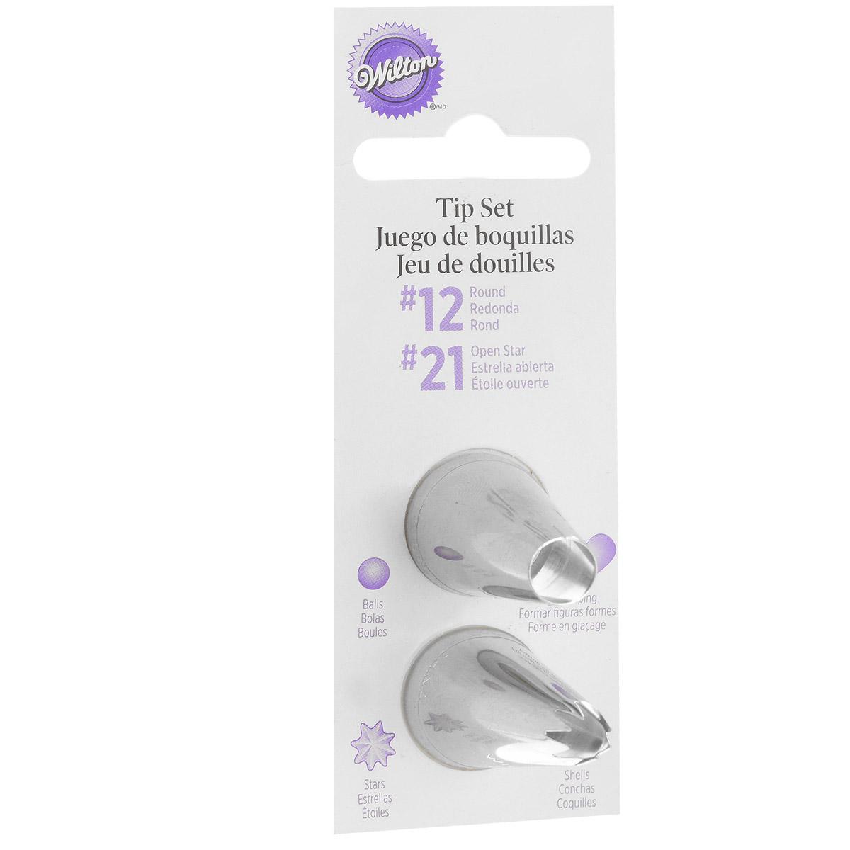 Набор насадок для кондитерского мешка Wilton, на подвесе, 2 штWLT-418-2112Набор насадок Wilton для кондитерского мешка, выполненный из металла, предназначен для украшения торта. Набор включает в себя 2 насадки: № 12, № 21. С такими насадками получаются красивые фигурки в виде шариков, ракушек, звезд, сердец. В зависимости от размера, вы можете использовать насадку с или без фиксатора насадок.Развивайте ваши умения по декорированию тортов с этими высококачественными, классическими насадками Wilton! Диаметр основания насадки: 2 см. Длина насадки: 3,5 см.